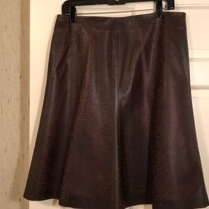Anne Klein genuine leather A-line skirt